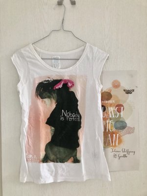 Zara T-shirt blanc-rose