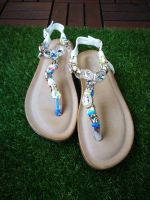 Jumex High-Heeled Toe-Post Sandals multicolored