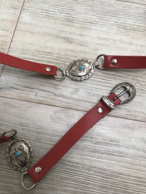 Faux Leather Belt light blue-dark red