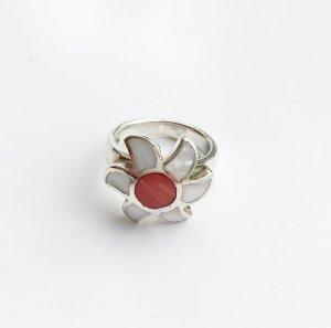 Süßer Blütenring 925er Silber, mit Halbedelstein u. Perlmutt, Gr. 53 (17,5mm)