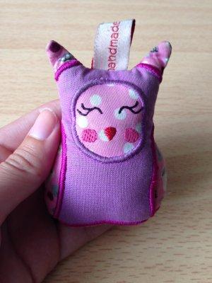 Süßer Eulenschlüsselanhänger in rosa / pink / lila