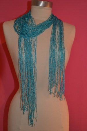 Pashmina turquoise-silver-colored synthetic fibre