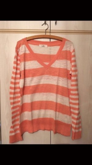 Süßer leichter Streifen Pullover mit V-Ausschnitt Sweater Pulli Apricot Weiß Mode Blogger Style