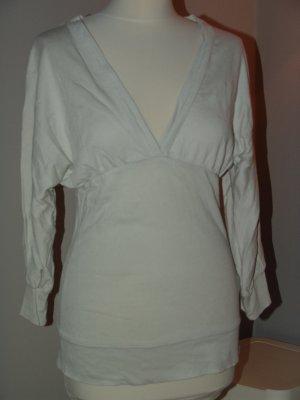 Zara Pull col en V blanc coton