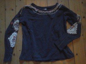 süsser Pullover Zara Trafaluc blau mit Perlen Stickerei Gr. M top