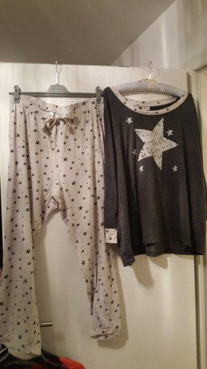 Pyjama donkergrijs-licht beige Katoen