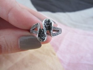 Statement Ring black-silver-colored no material specification existing