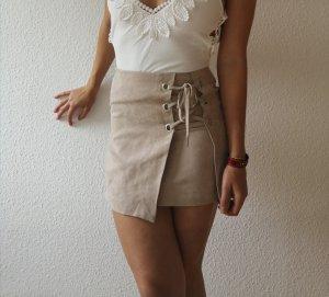 H&M High Waist Skirt light brown-oatmeal