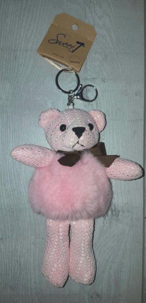 Süßer Schlüssel-/ Taschenanhänger BÄR mit Puschel in rosa *NEU*
