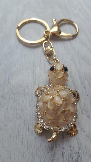 süßer Schlüssel-/ Taschenanhänger bewegliche Schildkröte aus Strass/Perlen und Metall NEU