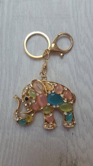 süßer Schlüssel-/ Taschenanhänger Elefant aus Strass/Perlen und Metall NEU