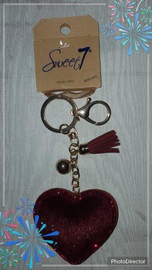 süßer Schlüsselanhänger/Taschenanhänger rotes Herz mit glitzer  *NEU*