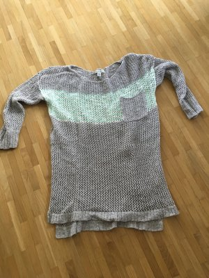 American Eagle Outfitters Crochet Sweater turquoise-pale blue