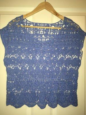 Top en maille crochet bleuet
