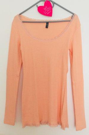 Süßes Apricot Shirt langärmelig & gerippt in Gr. L von Madonna, neuwertig *Romantiklook* Peach