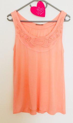 Süßes Apricot Shirt / Top mit Perlen und Stickereien in Gr. 38 von Orsay, neuwertig