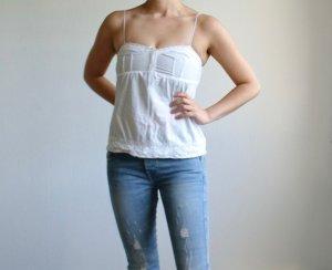 Mango Sleeveless Blouse white cotton