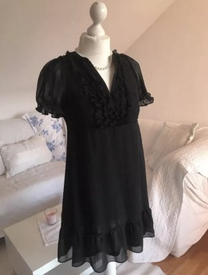 Süßes Babydoll Puffärmel Kleid schwarz Volants Voile H&M