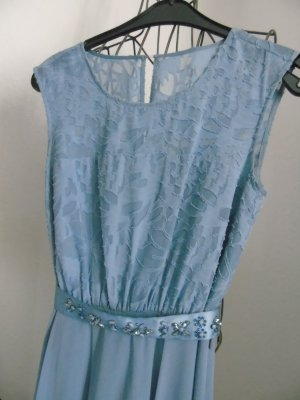 süßes blaugraues Kleid von Zero Gr. 34, mit edlem Gürtel