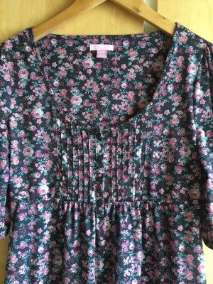 Süßes Blümchenkleid, schwarz mit kleinen Rosen