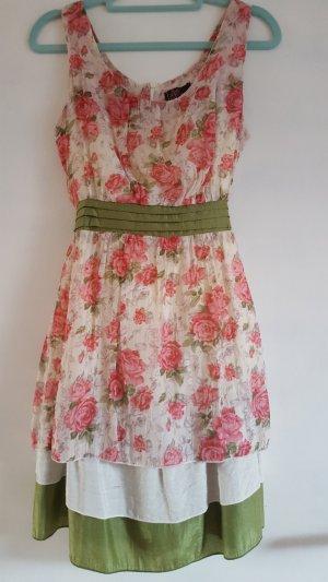 Süsses Blumenprint Kleid mit grüner Schleife