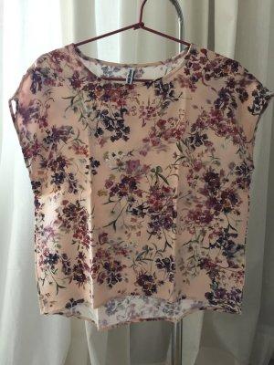 Süßes Blusenshirt Shirt Bluse mit überschnittenen Ärmeln filigraner Blumenprint
