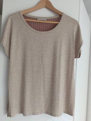 Süßes Blusentop Shirt T-Shirt Bluse beige mit beige-rot gemustertem Rückenteil