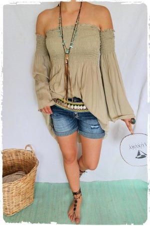 Robe Hippie beige-chameau tissu mixte