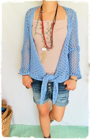 Crochet Cardigan cornflower blue-turquoise cotton