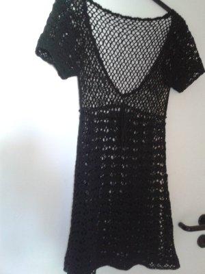 süßes Boho Strick Häkelkleidchen Kleid - Romantisch - gothic - schwarz - A Linie - Bändchen - UNGETRAGEN