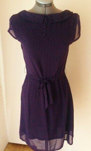 Süßes Chiffon-Kleid mit Pünktchen, swing, retro, in aubergine/ lila, M/ 38