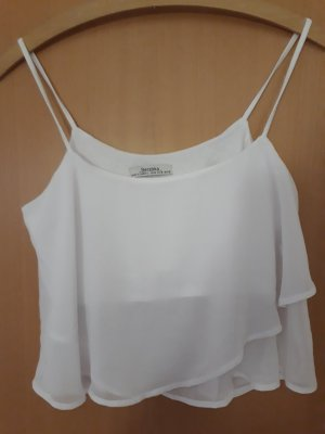Bershka Top recortado blanco