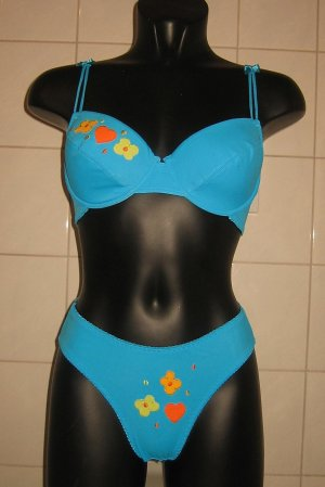 Süsses Dessous-Set in aqua blau 40/42 80C NEU