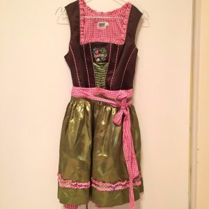 Country Line Traditional Dress raspberry-red-olive green