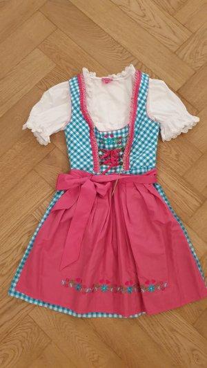 Süßes Dirndl in Hellblau / Pink - mit Bluse - 34