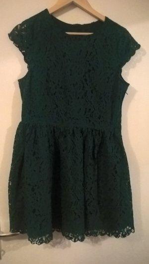süßes dunkelgrünes Spitzenkleid von H&M, Gr. 40