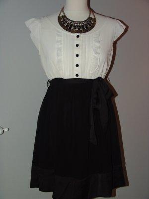 Robe empire noir-blanc polyester