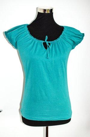 Süßes Esprit Top / Shirt, türkis, Rüschen Puffärmel, topzustand, S / 36