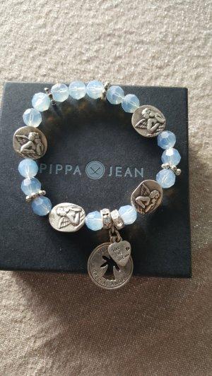 Bracelet en perles argenté-bleu azur