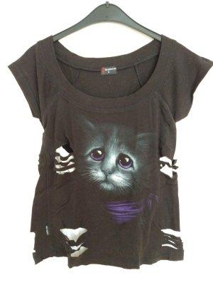 Süßes Goth Shirt mit Katzenmotiv