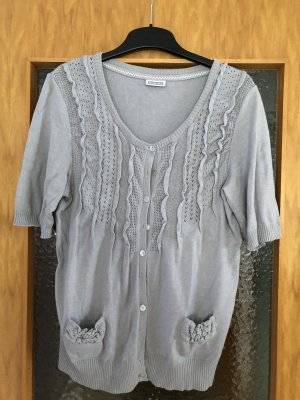 Street One Short Sleeve Knitted Jacket light grey-silver-colored