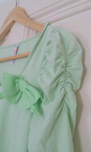 Süßes hellgrünes Shirt mit Schleife & Puffärmeln Gr. S