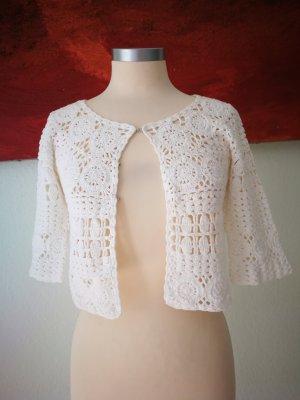 Mango Crochet Cardigan white