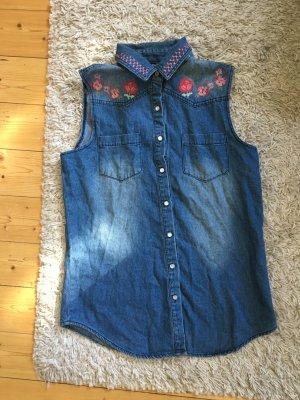Suesses Jeans Hemd mit Blumen