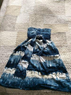 Vestido azul-blanco rayón