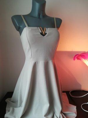 Süßes Kleid beige mit Einlagen Gr. S 36 dehnbar 50er Stil NEU