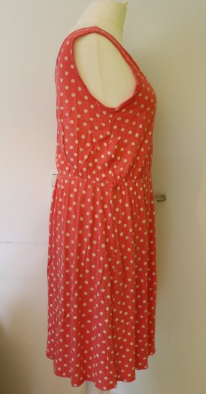 Süßes Kleid mit Polka-Dots, weiß-Pink/rosa, Größe 48