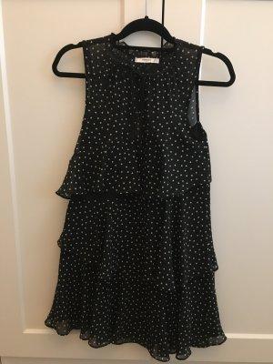Mango Chiffon jurk zwart-wit