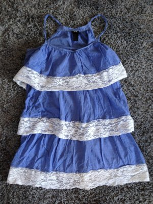 H&M Pinafore dress steel blue-white