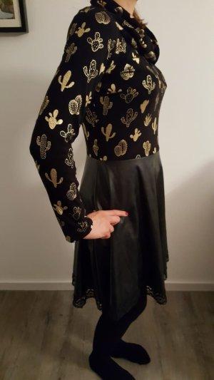 Midi Dress black-gold-colored imitation leather